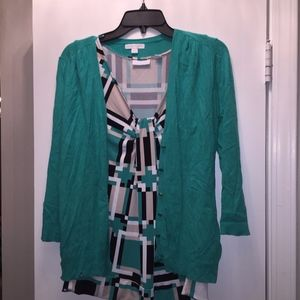 Teal sleeveless top with cardigan